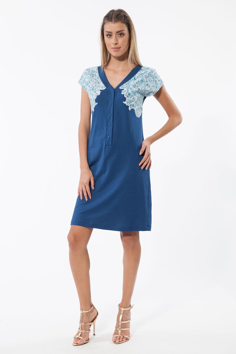 Платье. 4581145811Отличное платье Relax Mode изготовлено из хлопка и модала. Такое платье обеспечит вам комфорт и удобство при носке. Модель свободного кроя и V-образным вырезом горловины спереди застегивается на металлические кнопки до середины изделия. Грудь декорирована кружевом. Это модное и удобное платье станет превосходным дополнением к вашему гардеробу, оно подарит вам удобство и поможет вам подчеркнуть свой вкус и неповторимый стиль.