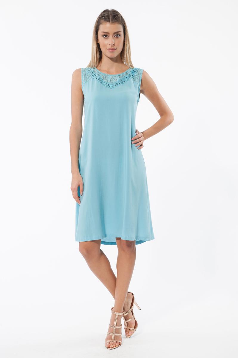 Платье. 4585845858Легкое платье Relax Mode, изготовленное из вискозы, обеспечит вам комфорт и удобство при носке. Модель свободного кроя А-силуэта без рукавов и с круглым вырезом горловины. Плечевая зона декорирована ажурной тканью. На спинке застегивается на пуговку. Это модное и удобное платье станет превосходным дополнением к вашему гардеробу, оно подарит вам удобство и поможет вам подчеркнуть свой вкус и неповторимый стиль.