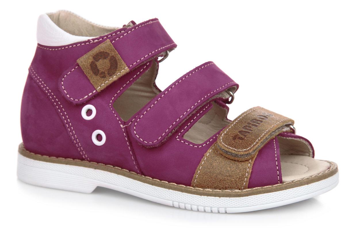 Сандалии для девочки. FT-26006.16-OL40O.01FT-26006.16-OL40O.01Стильные сандалии от TapiBoo придутся по душе вашей девочке. Модель, выполненная из натуральной кожи и нубука, оформлена прострочкой вдоль ранта и фирменным тиснением на ремешках. Внутренняя поверхность из натуральной кожи гарантирует комфорт при движении. Анатомическая стелька из натуральной кожи с супинатором обеспечивает правильное формирование стопы. Жесткий фиксирующий задник с удлиненным крылом надежно стабилизирует голеностопный сустав во время ходьбы. Застегивается модель на три ремешка с липучками. Упругая подошва, имеющая перекат, позволяет повторять естественное движение стопы при ходьбе для правильного распределения нагрузки на опорно-двигательный аппарат ребенка. Ортопедический каблук Томаса укрепляет подошву под средней частью стопы и препятствует ее заваливанию внутрь. Рельефный рисунок подошвы обеспечивает сцепление с любыми поверхностями. Такие сандалии станут незаменимыми в гардеробе вашего ребенка.