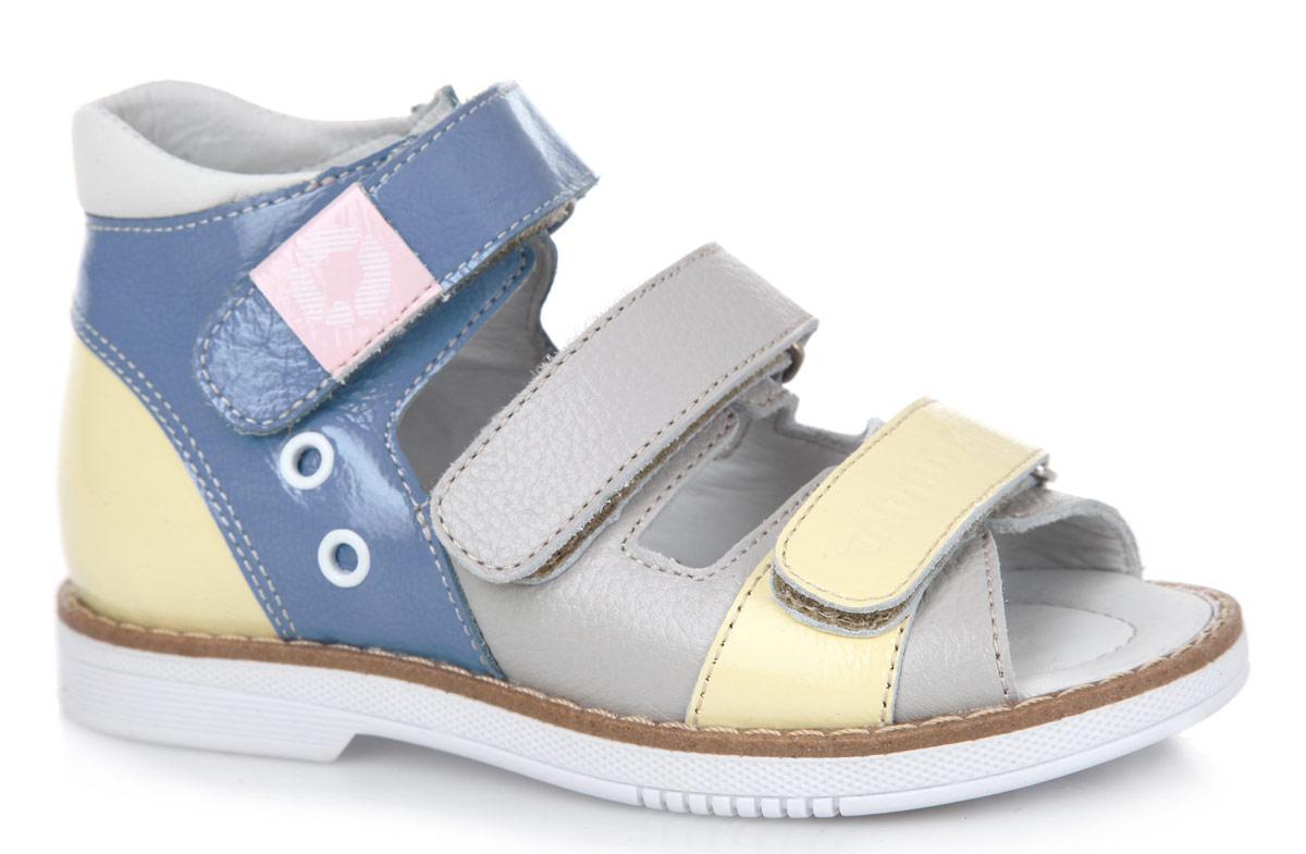Сандалии детские. FT-26006.16-OL09O.01FT-26006.16-OL09O.01Стильные сандалии от TapiBoo придутся по душе вашему ребенку. Модель, выполненная из натуральной кожи, оформлена прострочкой вдоль ранта, фирменной нашивкой и фирменным тиснением. Внутренняя поверхность из натуральной кожи гарантирует комфорт при движении. Анатомическая стелька из натуральной кожи с супинатором обеспечивает правильное формирование стопы. Жесткий фиксирующий задник с удлиненным крылом надежно стабилизирует голеностопный сустав во время ходьбы. Застегивается модель на три ремешка с липучками. Упругая подошва, имеющая перекат, позволяет повторять естественное движение стопы при ходьбе для правильного распределения нагрузки на опорно-двигательный аппарат ребенка. Ортопедический каблук Томаса укрепляет подошву под средней частью стопы и препятствует ее заваливанию внутрь. Рельефный рисунок подошвы обеспечивает сцепление с любыми поверхностями. Такие сандалии станут незаменимыми в гардеробе вашего ребенка.