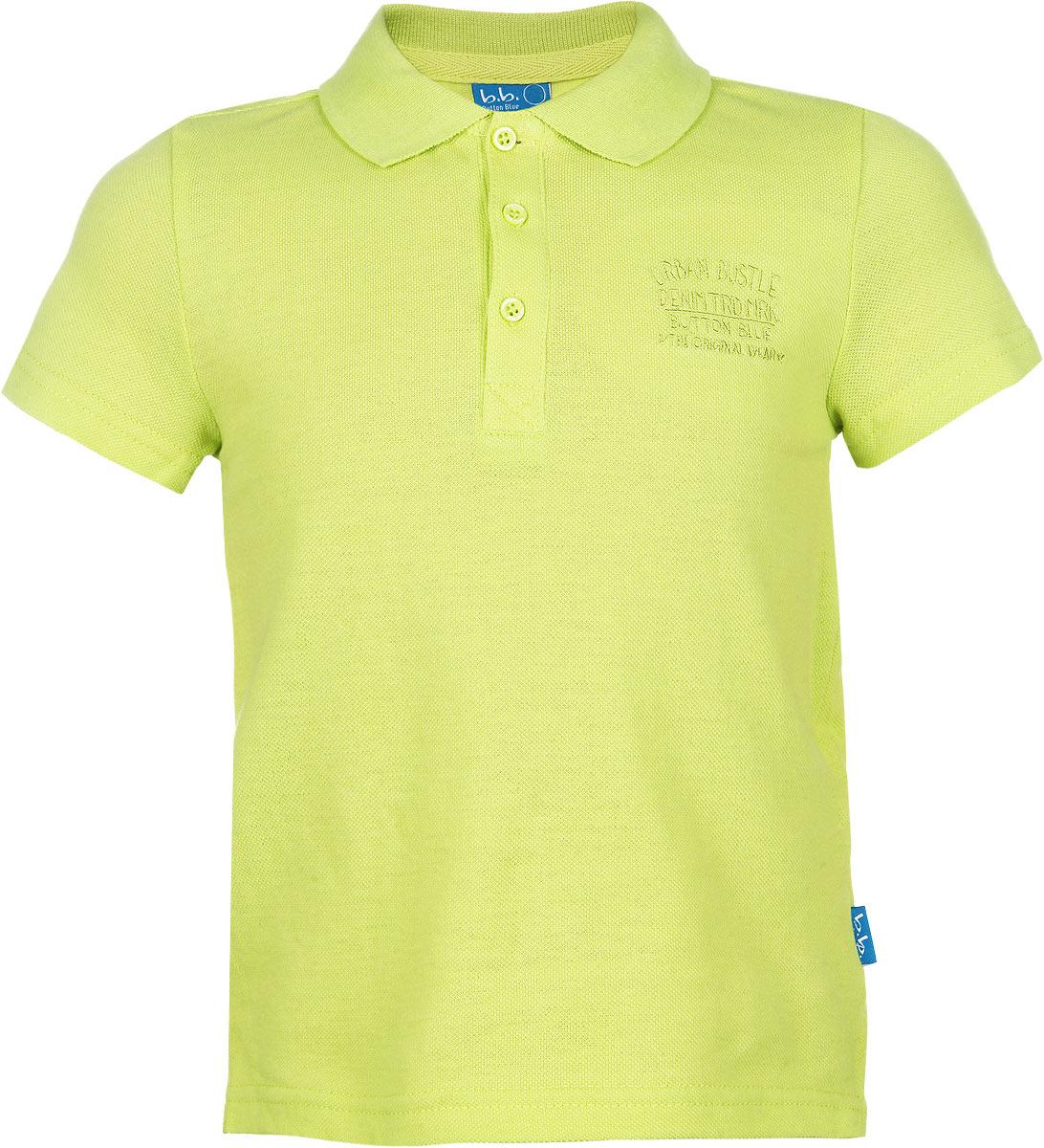 116BBBB1405Очаровательная футболка-поло для мальчика Button Blue идеально подойдет вашему ребенку. Изготовленная из 100% хлопка, она необычайно мягкая и приятная на ощупь, не сковывает движения и позволяет коже дышать, не раздражает даже самую нежную и чувствительную кожу ребенка, обеспечивая ему наибольший комфорт. Футболка-поло с короткими рукавами и отложным воротничком застегивается на три пуговицы сверху. Спинка модели удлинена, по бокам имеются небольшие разрезы. Спереди изделие украшено вышитыми надписями. Однотонная футболка-поло будет великолепно сочетаться с любыми вещами. Оригинальный современный дизайн и модная расцветка делают эту футболку стильным предметом детского гардероба. В ней ваш маленький мужчина будет чувствовать себя уютно, комфортно и всегда будет в центре внимания!