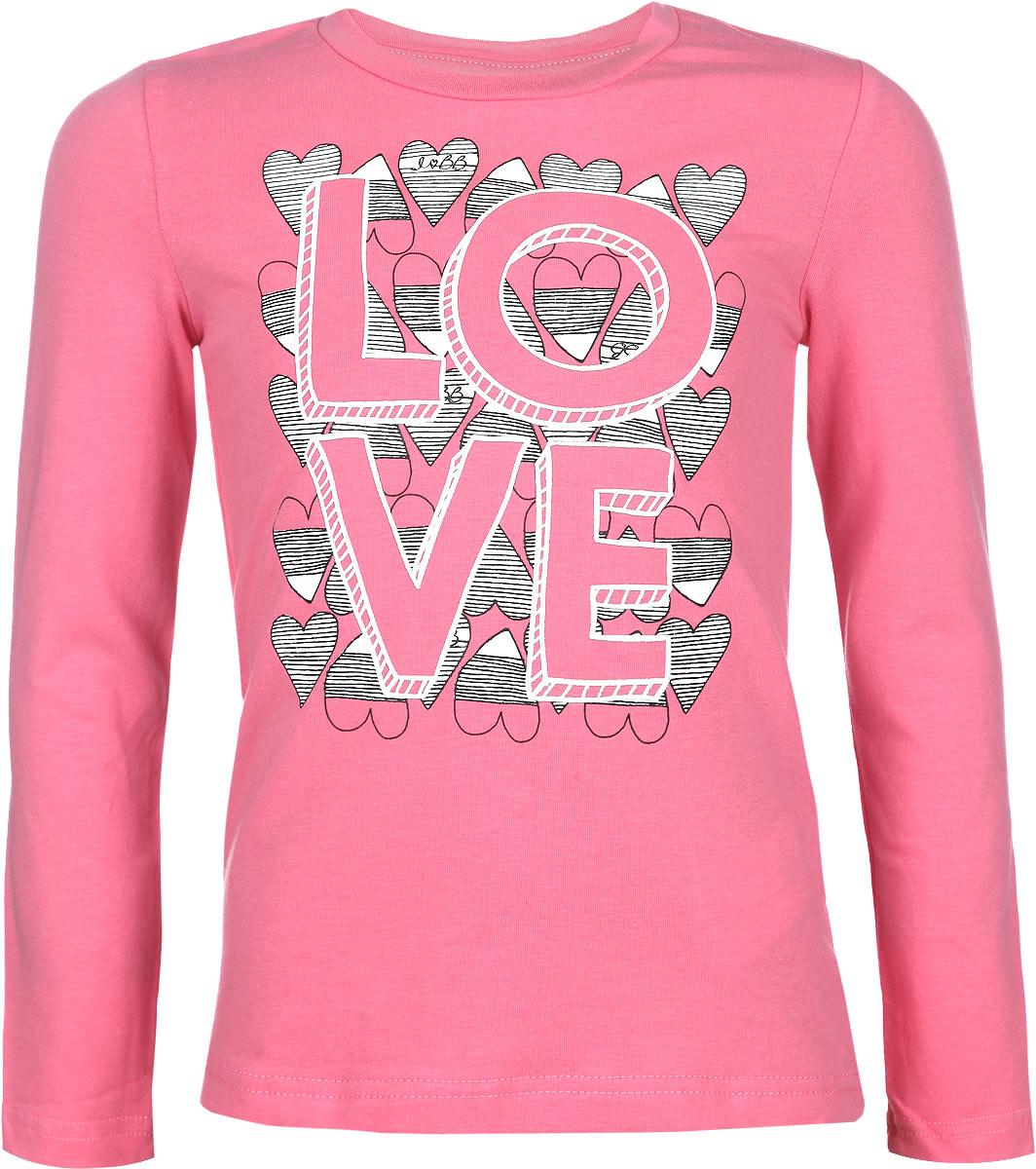 116BBGB1225Стильная футболка с длинным рукавом для девочки Button Blue идеально подойдет вашей моднице. Изготовленная из эластичного хлопка, она мягкая и приятная на ощупь, не сковывает движения и позволяет коже дышать, не раздражает даже самую нежную и чувствительную кожу ребенка, обеспечивая наибольший комфорт. Футболка трапециевидного кроя с длинными рукавами и круглым вырезом горловины оформлена крупной термоаппликацией в виде надписи Love, украшенной сердечками. Вырез горловины дополнен трикотажной эластичной резинкой. Современный дизайн и модная расцветка делают эту футболку стильным предметом детского гардероба. В ней ваша принцесса будет чувствовать себя уютно и комфортно, и всегда будет в центре внимания!