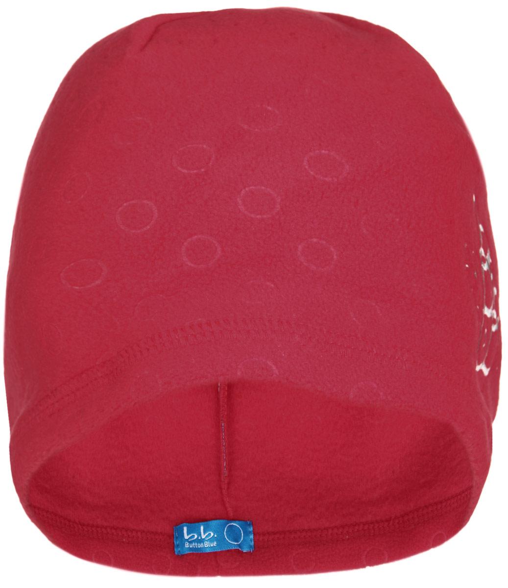 Шапка детская116BBGB7308Стильная теплая шапка для девочки Button Blue идеально подойдет для прогулок и активных игр в холодное время года. Шапка выполнена из флиса, она невероятно мягкая и приятная на ощупь, великолепно тянется и удобно сидит. Такая шапочка отлично дополнит любой наряд. Шапка украшена вышивкой в виде стилизованных букв BB. Удобная шапка станет модным и стильным дополнением гардероба вашей маленькой принцессы, надежно защитит ее от холода и ветра, и поднимет ей настроение даже в пасмурные дни! Уважаемые клиенты! Размер, доступный для заказа, является обхватом головы.