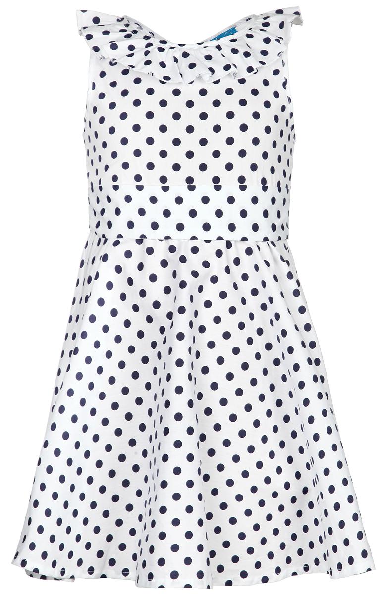 116BBGM2511Очаровательное платье для девочки Button Blue идеально подойдет вашей малышке. Изготовленное из 100% хлопка, оно необычайно мягкое и приятное на ощупь, не сковывает движения малышки и позволяет коже дышать, не раздражает даже самую нежную и чувствительную кожу ребенка, обеспечивая наибольший комфорт. Приталенное платье без рукавов дополнено широким поясом и оформлено оригинальным контрастным принтом в горох. Платье с юбкой солнце застегивается на застежку-молнию на спинке. Оригинальный современный дизайн и модная расцветка делают это платье модным и стильным предметом детского гардероба. В нем ваша малышка будет чувствовать себя уютно и комфортно и всегда будет в центре внимания!