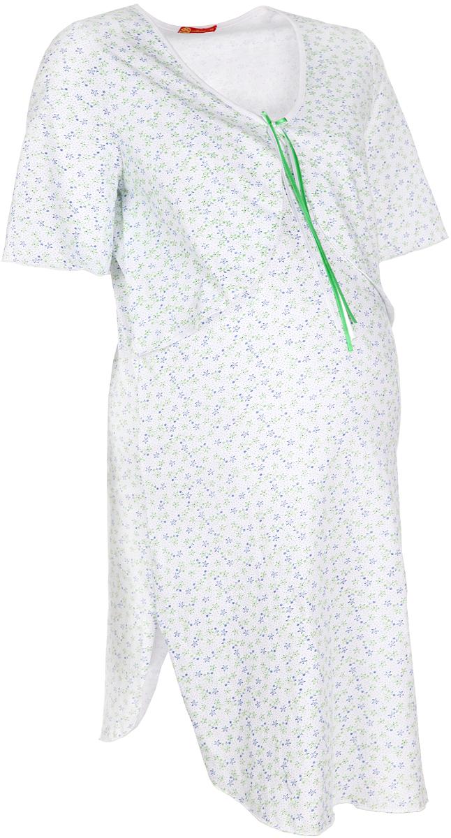 24102_мелкие цветыУдобная, красивая ночная сорочка для беременных и кормящих Мамин Дом, изготовленная из натурального хлопка, женственна и элегантна. Модель с короткими рукавами и V-образным вырезом горловины оформлена цветочным принтом и украшена спереди атласным бантом. Специальная вставка, имитирующая болеро, скрывает прорези в области груди, обеспечивающие легкий доступ для кормления. Низ изделия дополнен боковыми разрезами. Свободный крой позволяет носить ночную сорочку, как во время беременности, так и после родов. Такая сорочка сделает отдых будущей мамы комфортным. Одежда, изготовленная из хлопка, приятна к телу, сохраняет тепло в холодное время года и дарит прохладу в теплое, позволяет коже дышать.