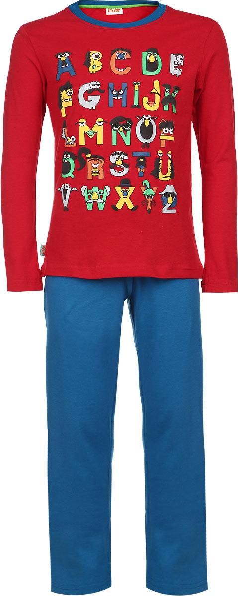 ПижамаAW15-UAT-BST-053Пижама для мальчика KitFox, состоящая из футболки с длинным рукавом и брюк, идеально подойдет вашему ребенку. Пижама выполнена из хлопка c добавлением эластана, она очень мягкая и приятная на ощупь, не сковывает движения и позволяет коже дышать, не раздражает даже самую нежную и чувствительную кожу ребенка, обеспечивая ему наибольший комфорт. Футболка с длинными рукавами и круглым вырезом горловины оформлена ярким принтом в виде букв английского алфавита. Вырез горловины дополнен трикотажной резинкой. Брюки прямого кроя на талии имеют широкую эластичную резинку, которая не позволяет брюкам сползать, не сдавливая животик ребенка. В такой пижаме ваш ребенок будет чувствовать себя комфортно и уютно во время сна.