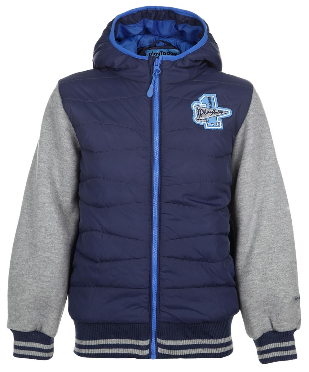Куртка161002Яркая демисезонная куртка для мальчика PlayToday идеально подойдет для ребенка в прохладное время года. Куртка выполнена из нейлона, рукава изготовлены из хлопка с добавлением полиэстера. Модель стилизована под жилет с толстовкой. Куртка с капюшоном застегивается на удобную застежку-молнию и дополнительно имеет внутренний ветрозащитный клапан. Капюшон не отстегивается. Низ рукавов оформлен широкими трикотажными манжетами, не стягивающими запястья. Низ модели также оформлен широкой трикотажной резинкой. По бокам курточка дополнена двумя втачными кармашками. Сзади куртка декорирована надписью Basketball. В такой куртке ваш маленький мужчина будет чувствовать себя комфортно, уютно и всегда будет в центре внимания!
