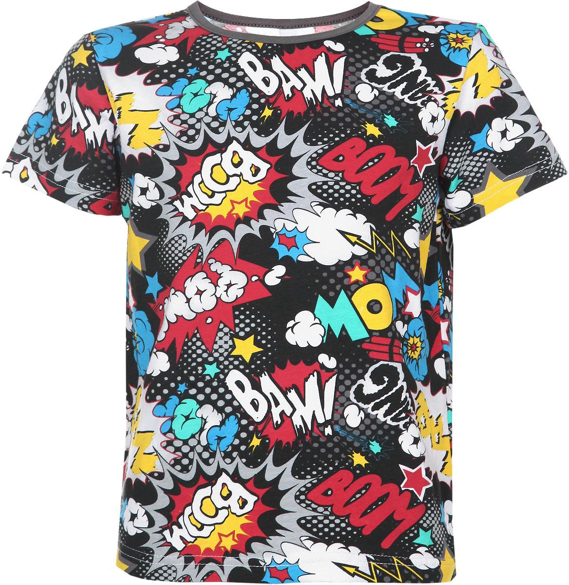 Футболка для мальчика. 161069161069Яркая футболка для мальчика PlayToday, выполненная из эластичного хлопка, станет отличным дополнением к детскому гардеробу. Футболка мягкая и приятная на ощупь, не сковывает движения ребенка и позволяет коже дышать, обеспечивая наибольший комфорт. Модель с круглым вырезом горловины и короткими рукавами оформлена оригинальным принтом с надписями по всей поверхности. Воротник дополнен мягкой бейкой. В такой футболке ребенок будет чувствовать себя комфортно, уютно и всегда будет в центре внимания!