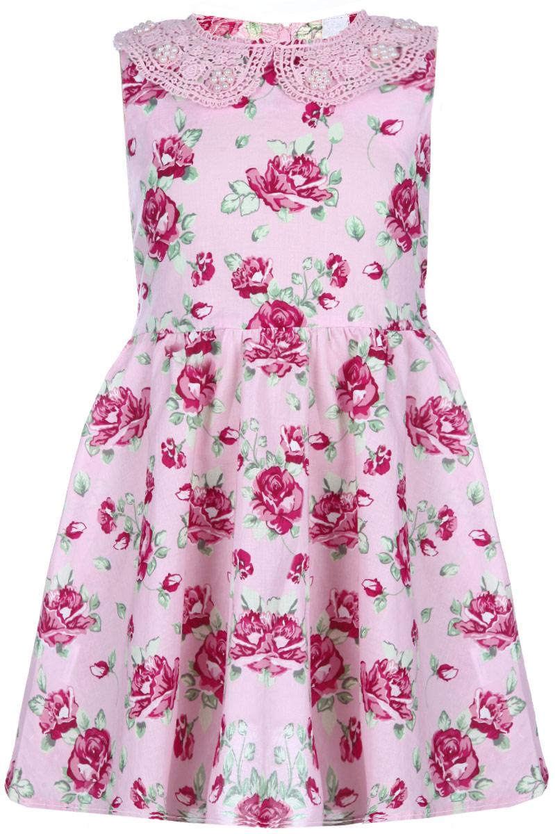 Платье162012Яркое платье для девочки PlayToday отлично подойдет маленькой моднице. Выполненное из натурального хлопка, оно легкое и воздушное, приятное на ощупь, не сковывает движения и хорошо вентилируется. Платье с круглым вырезом горловины застегивается сзади на скрытую молнию, что помогает при переодевании ребенка. Модель оформлена нежным цветочным принтом. Горловина дополнена кружевным воротничком, украшенным жемчужными бусинами. От линии талии заложены частые складочки, которые придают изделию воздушность. На талии предусмотрены завязки, позволяющие подчеркнуть изящность платья завязанным бантом. Современный дизайн и яркая расцветка делают это платье стильным предметом детской одежды. В нем маленькая принцесса всегда будет в центре внимания.