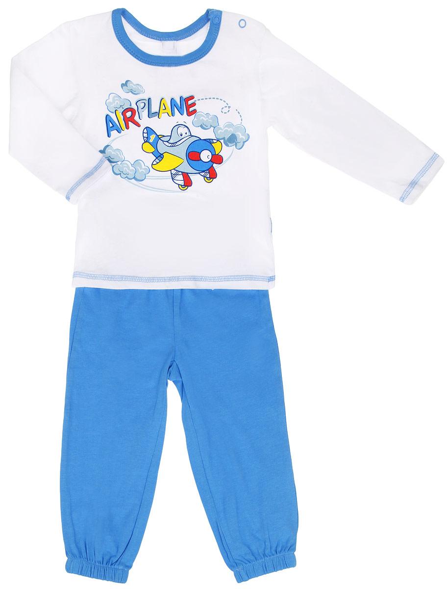 Комплект для мальчика Baby: футболка с длинным рукавом, брюки. 167024167024Комплект для мальчика PlayToday Baby, состоящий из футболки с длинным рукавом и брюк, идеально подойдет вашему ребенку. Изготовленный из эластичного хлопка, он необычайно мягкий и приятный на ощупь, не сковывает движения и позволяет коже дышать, не раздражает даже самую нежную и чувствительную кожу ребенка, обеспечивая ему наибольший комфорт. Футболка с длинными рукавами и круглым вырезом горловины имеет застежки-кнопки по плечу, которые помогают с легкостью переодеть ребенка. Вырез горловины дополнен контрастной эластичной бейкой. Спереди изделие оформлено ярким принтом с изображением самолетика. Брюки на талии имеют широкую эластичную резинку, регулируемую шнурком, благодаря чему они не сдавливают животик ребенка и не сползают. Низ брючин присборен на эластичные резинки. Современный дизайн и расцветка делают этот комплект незаменимым предметом детского гардероба. В нем вашему маленькому мужчине будет комфортно и уютно, и он всегда будет в центре внимания!