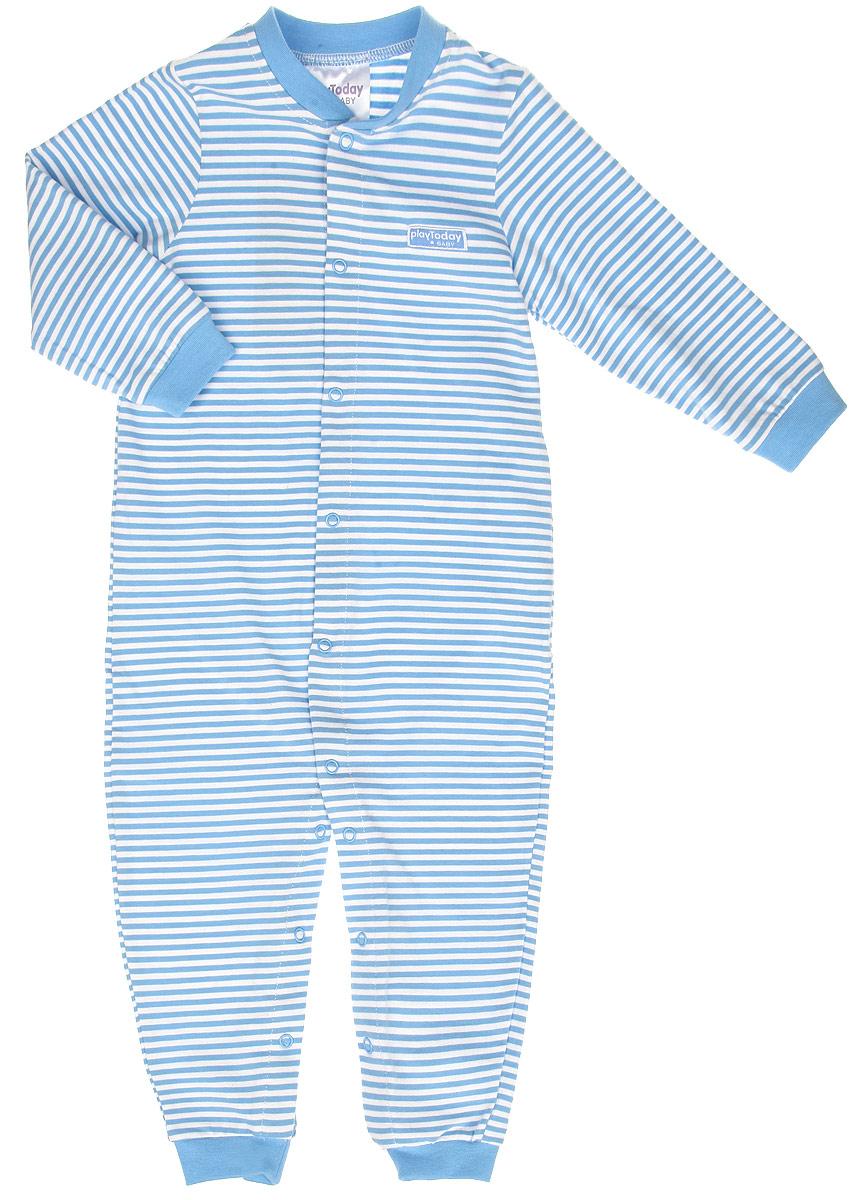 Комбинезон для мальчика Baby. 167025167025Детский комбинезон для мальчика PlayToday Baby идеально подойдет вашему малышу. Изготовленный из эластичного хлопка, он необычайно мягкий и приятный на ощупь, не сковывает движения и позволяет коже дышать, не раздражает даже самую нежную и чувствительную кожу ребенка, обеспечивая ему наибольший комфорт. Комбинезон с круглым вырезом горловины, длинными рукавами и открытыми ножками застегивается на металлические застежки-кнопки от выреза горловины до щиколоток, которые позволяют без труда переодеть ребенка или сменить подгузник. Горловина, манжеты рукавов и низ штанин окантованы трикотажной эластичной резинкой. Комбинезон оформлен принтом в полоску и небольшой нашивкой на груди. Современный дизайн и модная расцветка делают этот комбинезон незаменимым предметом детского гардероба. В нем вашему маленькому мужчине будет комфортно и уютно, и он всегда будет в центре внимания!