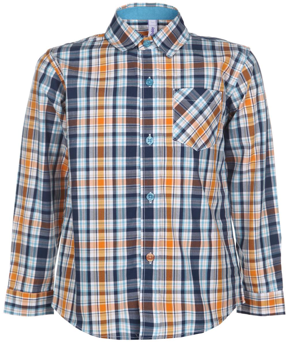 Рубашка для мальчика. 161015161015Стильная рубашка для мальчика PlayToday идеально подойдет вашему ребенку. Изготовленная из натурального хлопка, она мягкая и приятная на ощупь, не сковывает движения и позволяет коже дышать, не раздражает даже самую нежную и чувствительную кожу ребенка, обеспечивая ему наибольший комфорт. Рубашка с длинными рукавами и отложным воротничком застегивается на пластиковые пуговицы по всей длине. Рукава имеют широкие манжеты, также застегивающиеся на пуговицы. Оформлена модель принтом в клетку, дополнена небольшим нашивным кармашком на груди. Низ изделия закруглен. Современный дизайн и модная расцветка делают эту рубашку стильным предметом детского гардероба. Ее можно носить как с джинсами, так и с классическими брюками.