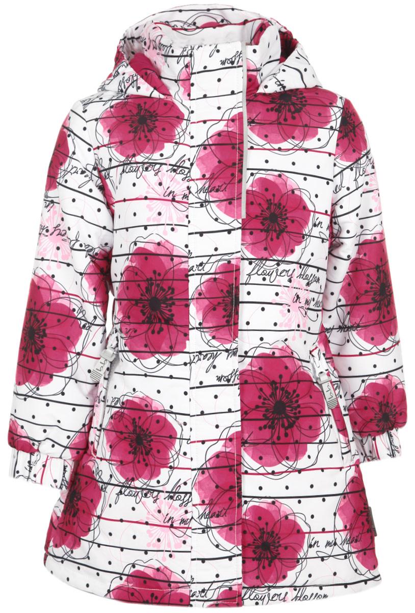 Куртка для девочки Active. 116BBGB4501116BBGB4501Яркая куртка для девочки Button Blue Active, изготовленная из водонепроницаемой и ветрозащитной ткани, идеально подойдет ребенку для активного отдыха. Грязеотталкивающее покрытие повышает износостойкость модели, что обеспечивает ей отличный внешний вид на всем протяжении носки. Материал обладает антиаллергенными свойствами, хорошей воздухопроводимостью. В качестве утеплителя используется полиэстер, который максимально сохраняет тепло. Удлиненная куртка с капюшоном и воротником-стойкой застегивается на пластиковую молнию с защитой подбородка и дополнительно имеет внешнюю ветрозащитную планку на липучках и кнопках. Капюшон не отстегивается, присборен по краям на эластичные резинки. Спереди расположены два прорезных кармана на застежках-молниях. Манжеты на рукавах дополнены широкими эластичными резинками. На талии по спинке предусмотрена вшитая широкая эластичная резинка. Спинка модели удлинена. Имеются светоотражающие элементы для безопасности ребенка в темное...