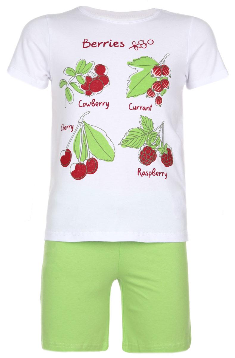 Комплект для девочки Home: футболка, шорты. 166002166002Комплект для девочки PlayToday Home, состоящий из футболки и шортиков, идеально подойдет вашей дочурке и станет отличным дополнением к детскому гардеробу. Изготовленный из эластичного хлопка, он необычайно мягкий и приятный на ощупь, не раздражает нежную кожу ребенка и хорошо вентилируется, а эластичные швы приятны телу и не препятствуют ее движениям. Футболка с короткими рукавами и круглым вырезом горловины оформлена принтом с изображением ягод и украшена блестящим напылением. Шортики на талии имеют широкий эластичный пояс, регулируемый шнурком, благодаря чему, они не сдавливают животик и не сползают. Такой комплект идеально подойдет вашей дочурке.