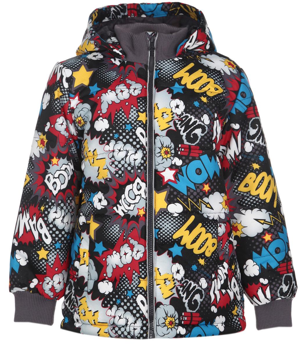 Куртка для мальчика. 161051161051Стильная куртка для мальчика PlayToday идеально подойдет для ребенка в прохладное время года. Куртка, изготовленная из водоотталкивающей и ветрозащитной ткани (100% полиэстера), утеплена синтепоном, который отлично сохраняет тепло. В качестве подкладки также используется 100% полиэстер. Куртка с капюшоном застегивается на пластиковую застежку-молнию с удобным держателем и дополнительно имеет защиту подбородка и внутреннюю ветрозащитную планку. Капюшон не отстегивается и по краю присборен на эластичную резинку со стопперами. Рукава имеют широкие трикотажные манжеты. Спереди модель дополнена двумя прорезными карманами. Понизу проходит скрытая кулиска со стопперами. Оформлено изделие ярким оригинальным принтом. Комфортная, удобная и практичная куртка идеально подойдет для прогулок и игр на свежем воздухе!