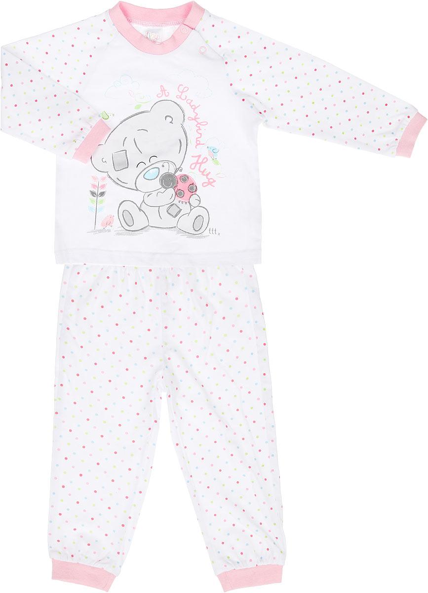 Пижама для девочки Me To You. 668004668004Очаровательная пижама для девочки PlayToday Baby Me To You, состоящая из футболки с длинным рукавом и брюк, идеально подойдет вашей дочурке и станет отличным дополнением к детскому гардеробу. Изготовленная из эластичного хлопка, она необычайно мягкая и легкая, не сковывает движения, позволяет коже дышать и не раздражает даже самую нежную и чувствительную кожу ребенка. Футболка с длинными рукавами-реглан и круглым вырезом горловины имеет две застежки-кнопки по плечевому шву, что помогает с легкостью переодеть ребенка. Оформлено изделие принтом с изображением очаровательного медвежонка Тедди, а также принтовой надписью на английском языке и гороховым принтом. Горловина и низ рукавов дополнены трикотажной эластичной резинкой. Брюки на талии имеют широкую эластичную резинку, благодаря чему они не сдавливают живот ребенка и не сползают. Низ брючин дополнен широкими трикотажными манжетами. Оформлено изделие цветным гороховым принтом. В такой пижаме ваша маленькая...