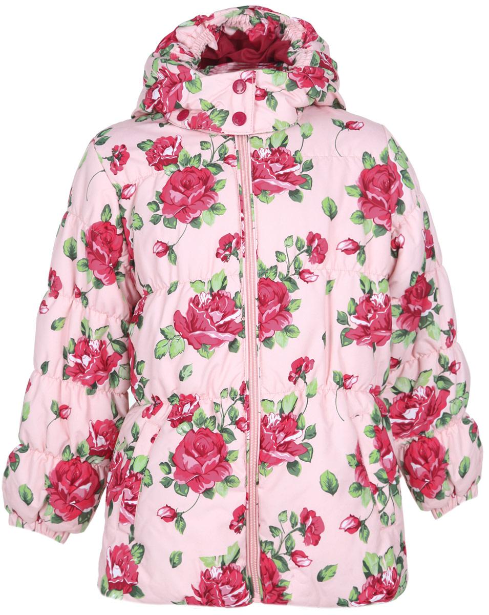 Куртка для девочки. 162001162001Очаровательная утепленная куртка для девочки PlayToday идеально подойдет для ребенка в прохладное время года. Куртка изготовлена из водоотталкивающей и ветрозащитной ткани и утеплена синтепоном (100% полиэстер). В качестве подкладки также используется 100% полиэстер . Куртка с капюшоном и воротником-стойкой застегивается на пластиковую застежку-молнию и дополнительно имеет внутренний ветрозащитный клапан и защиту подбородка. Капюшон, присборенный по краю на тонкие эластичные резинки, пристегивается с помощью застежек-кнопок и дополнительно застегивается клапаном под подбородком на кнопки. Низ рукавов присборен на неширокие эластичные резинки. Для большего комфорта подкладка воротника и нижней части рукавов выполнена из теплого мягкого флиса. Спереди курточка дополнена двумя прорезными карманами. По всей поверхности модель присборена на тонкие эластичные резинки и оформлена цветочным принтом. В такой куртке ваша маленькая принцесса будет чувствовать себя комфортно, уютно и...
