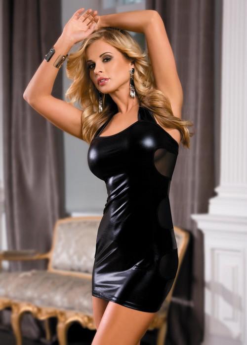 Платье гоу-гоу. 840021840021Клубное платье с полуоткрытой спиной Candy Girl, выполненное из эластичного материала с мокрым эффектом, дерзкое и сексуальное. Модель с выразительным декольте фиксируется при помощи липучки на шее. Сзади модель дополнена прозрачными сетчатыми вставками. Такое игривое платье добавит особенного настроения вашему образу.