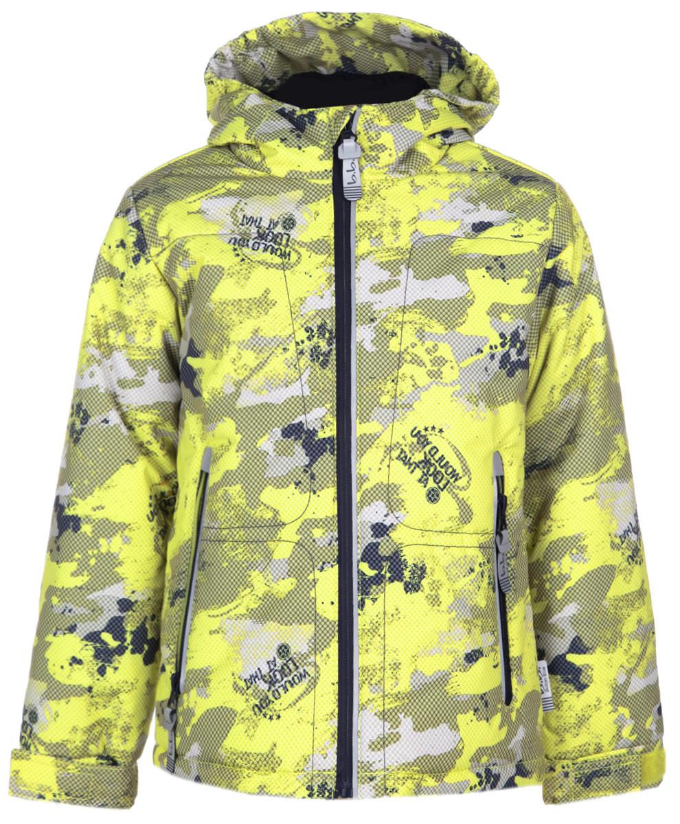 Куртка116BBBB4106Утепленная куртка для мальчика Button Blue идеально подойдет вашему ребенку в прохладное время года. Куртка изготовлена из водоотталкивающей и ветрозащитной ткани с утеплителем из 100% полиэстера. В качестве подкладки используется 100% полиэстер. Куртка с капюшоном застегивается на пластиковую застежку-молнию с защитой подбородка и дополнительно имеет внутренний ветрозащитный клапан. Капюшон, присборенный по бокам, не отстегивается. Рукава понизу регулируются по ширине с помощью хлястиков на липучках. Спереди имеются два прорезных кармана на молниях. Понизу проходит скрытая эластичная резинка на стопперах. Спинка незначительно удлинена. Оформлено изделие оригинальным принтом. Светоотражающие вставки не оставят вашего ребенка незамеченным в темное время суток. Комфортная, удобная и теплая куртка идеально подойдет для прогулок и игр на свежем воздухе!