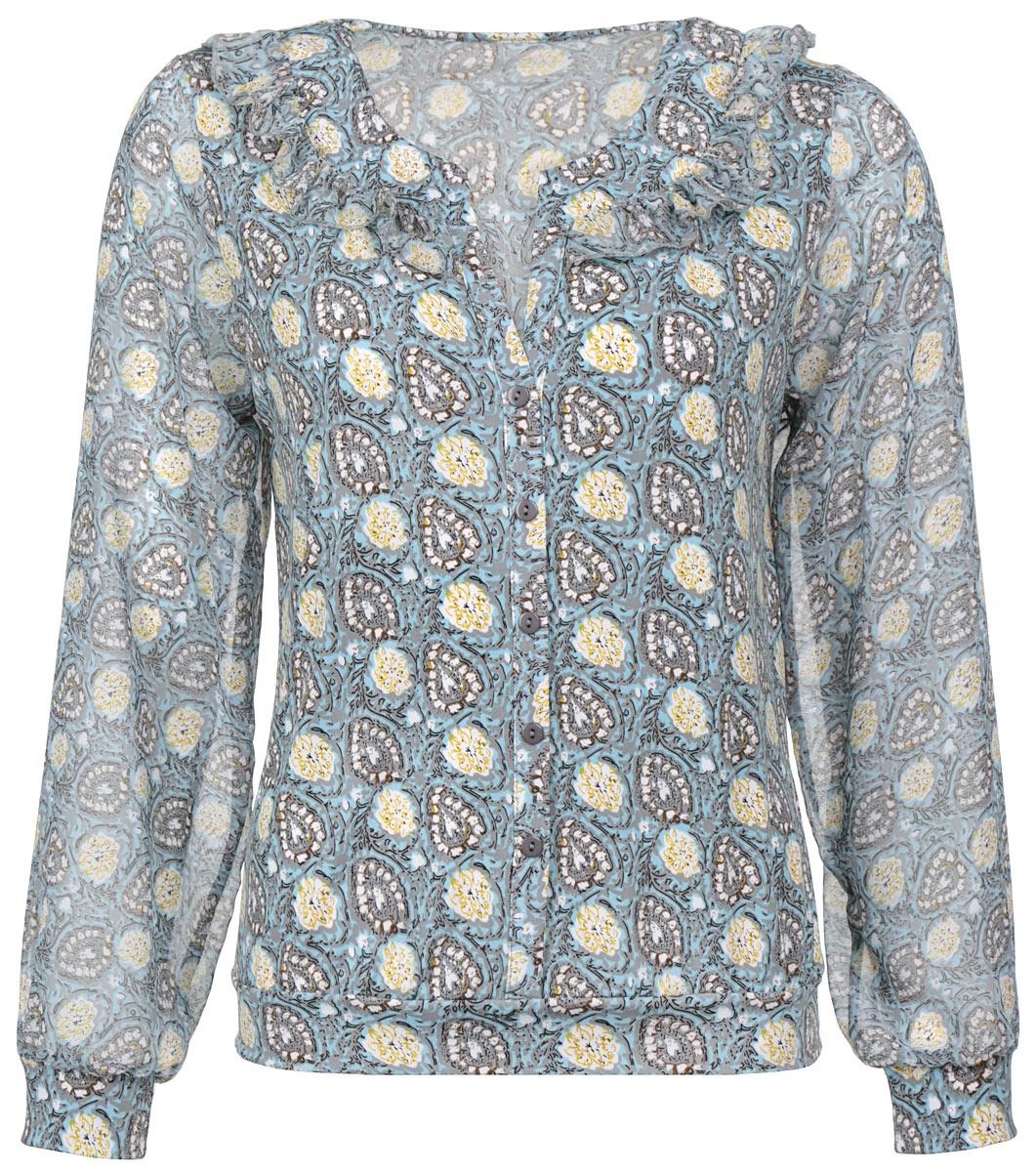 Блузка женская. 1343-6241343-624Очаровательная женская блузка Milana Style, выполненная из синтетического материала ПАН с добавлением эластана, подчеркнет ваш уникальный стиль и поможет создать оригинальный женственный образ. Материал очень легкий, мягкий и приятный на ощупь, не сковывает движения и хорошо вентилируется. Блузка с длинными рукавами и V-образным воротником оформлена этническим рисунком. Модель дополнена по линии выреза горловины сборкой и эффектом застежки на пуговицы по всей длине изделия. Присборенные у манжета рукава выполнены из полупрозрачного материала, сами манжеты эластичные. Модная блузка займет достойное место в вашем гардеробе.
