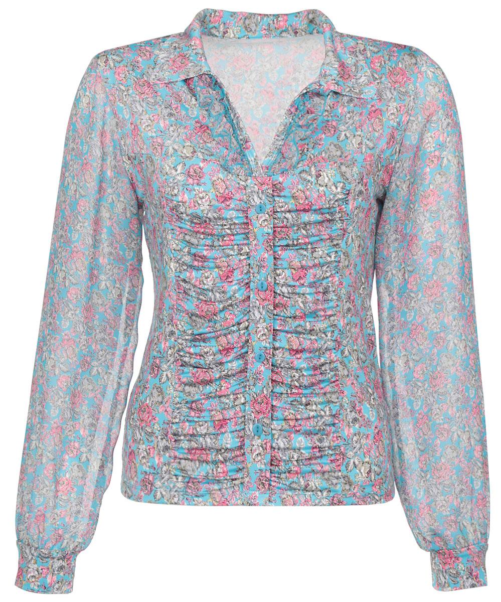 Блузка женская. 244-624244-624Очаровательная женская блузка Milana Style, выполненная из синтетического материала ПАН с добавлением эластана, подчеркнет ваш уникальный стиль и поможет создать оригинальный женственный образ. Материал очень легкий, мягкий и приятный на ощупь, не сковывает движения и хорошо вентилируется. Блузка с длинными рукавами и V-образным вырезом горловины с отложным воротником. Вырез горловины дополнен рюшей в тон блузки. Лицевая сторона блузки оригинально оформлена сборкой по центру изделия с эффектом застежки на пуговицы. Рукава из полупрозрачного материала фиксируются эластичными манжетами. Красочный цветочный принт придаст яркости и романтичности вашему образу. Такая блузка будет дарить вам комфорт в течение всего дня и послужит замечательным дополнением к вашему гардеробу.