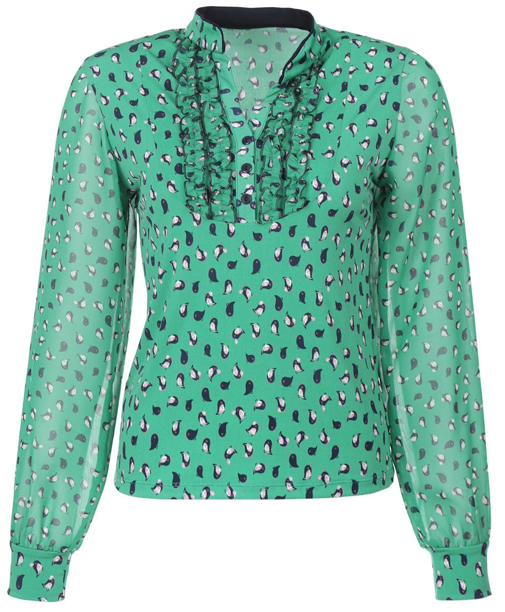 Блузка127-624Стильная блузка Milana Style с изображением птиц, выполненная из синтетического материала ПАН с добавлением эластана, подчеркнет ваш уникальный стиль и поможет создать оригинальный женственный образ. Материал очень легкий, мягкий и приятный на ощупь, не сковывает движения и хорошо вентилируется. Блузка с длинными полупрозрачными рукавами и V-образным воротничком оформлена в зоне декольте эффектом жабо с пуговицами. Рукава дополнены эластичными манжетами. Модная блузка займет достойное место в вашем гардеробе.