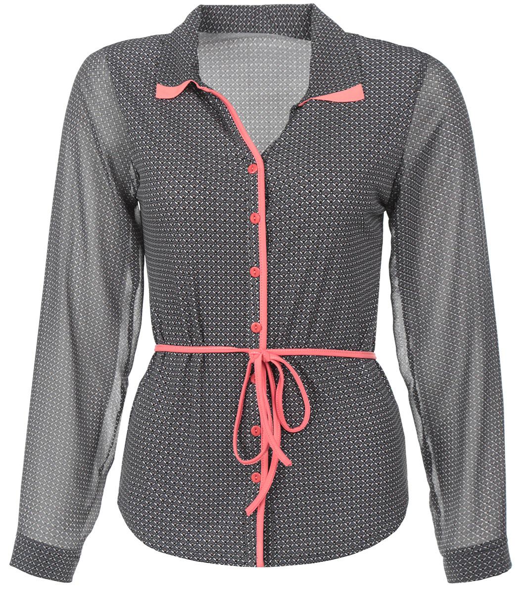 1502-624Стильная блузка Milana Style, выполненная из синтетического материала ПАН с добавлением эластана, подчеркнет ваш уникальный стиль и поможет создать оригинальный женственный образ. Материал очень легкий, мягкий и приятный на ощупь, не сковывает движения и хорошо вентилируется. Блузка с длинными рукавами и отложным воротником оформлена декоративной планкой с пуговицами по всей длине. Рукава выполнены из полупрозрачной легкой ткани. Манжеты рукавов также застегиваются на пуговицы. Закругленный низ блузки придает образу утонченности. По всей поверхности изделие оформлено мелким принтом и дополнено текстильным поясом. Такая блузка будет дарить вам комфорт в течение всего дня и послужит замечательным дополнением к вашему гардеробу.