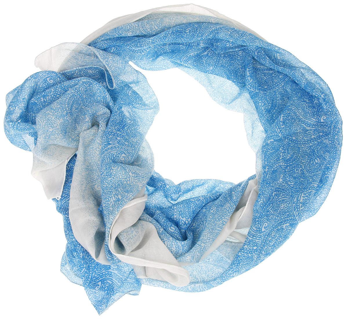 Шарф женский. B16-11407B16-11407Модный женский шарф Finn Flare подарит вам уют и станет стильным аксессуаром, который призван подчеркнуть вашу индивидуальность и женственность. Тонкий шарф выполнен из высококачественной вискозы с добавлением хлопка, он невероятно мягкий и приятный на ощупь. Шарф оформлен изысканным растительным орнаментом. Этот модный аксессуар гармонично дополнит образ современной женщины, следящей за своим имиджем и стремящейся всегда оставаться стильной и элегантной. Такой шарф украсит любой наряд и согреет вас в непогоду, с ним вы всегда будете выглядеть изысканно и оригинально.
