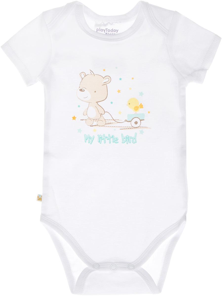 Боди для мальчика. 167858167858Боди для мальчика PlayToday Baby послужит идеальным дополнением к гардеробу вашего малыша, обеспечивая ему наибольший комфорт. Изготовленное из натурального хлопка, оно необычайно мягкое и приятное на ощупь, не сковывает движения и позволяет коже дышать, не раздражает даже самую нежную и чувствительную кожу ребенка, обеспечивая ему наибольший комфорт. Боди с короткими рукавами и круглым вырезом горловины дополнено кнопками на ластовице, что позволяет легко и быстро одеть малыша или поменять подгузник. Боди оформлено стильным принтом с изображением очаровательного медвежонка. Боди полностью соответствует особенностям жизни ребенка в ранний период, не стесняя и не ограничивая его в движениях.
