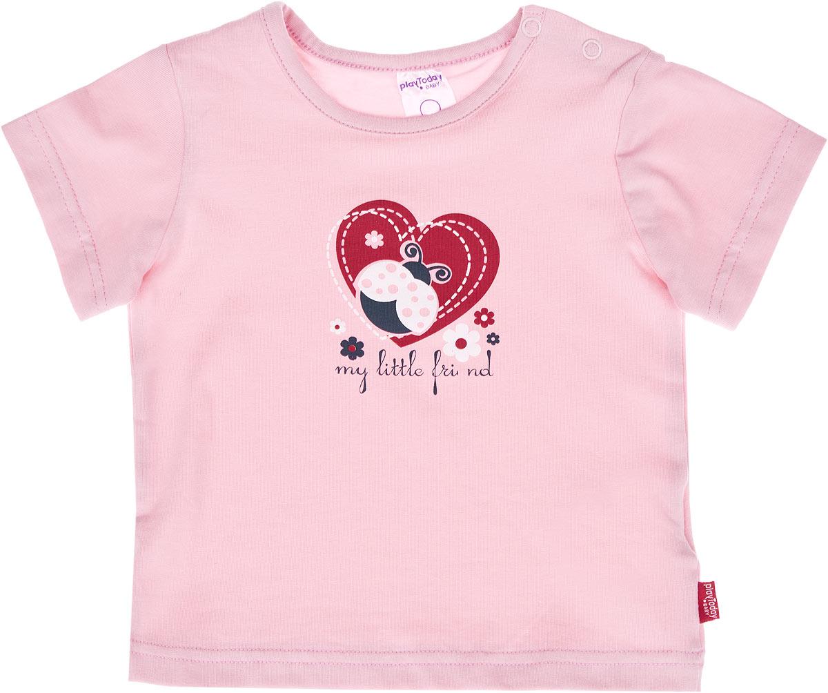 Футболка для девочки Baby. 168023/168022/168021168021Яркая футболка для девочки PlayToday Baby идеально подойдет вашей малышке и станет прекрасным дополнением детского гардероба. Изготовленная из эластичного хлопка, она мягкая и приятная на ощупь, не сковывает движения и позволяет коже дышать, не раздражает даже самую нежную и чувствительную кожу ребенка, обеспечивая наибольший комфорт. Футболка с короткими рукавами и круглым вырезом горловины имеет застежки-кнопки по плечу, что позволяет легко переодеть кроху. Оформлена модель спереди небольшой термоаппликацией с изображением божьей коровки, сердечек и принтовой надписью на английском языке. В такой футболке ваша маленькая принцесса будет чувствовать себя уютно и комфортно, и всегда будет в центре внимания!