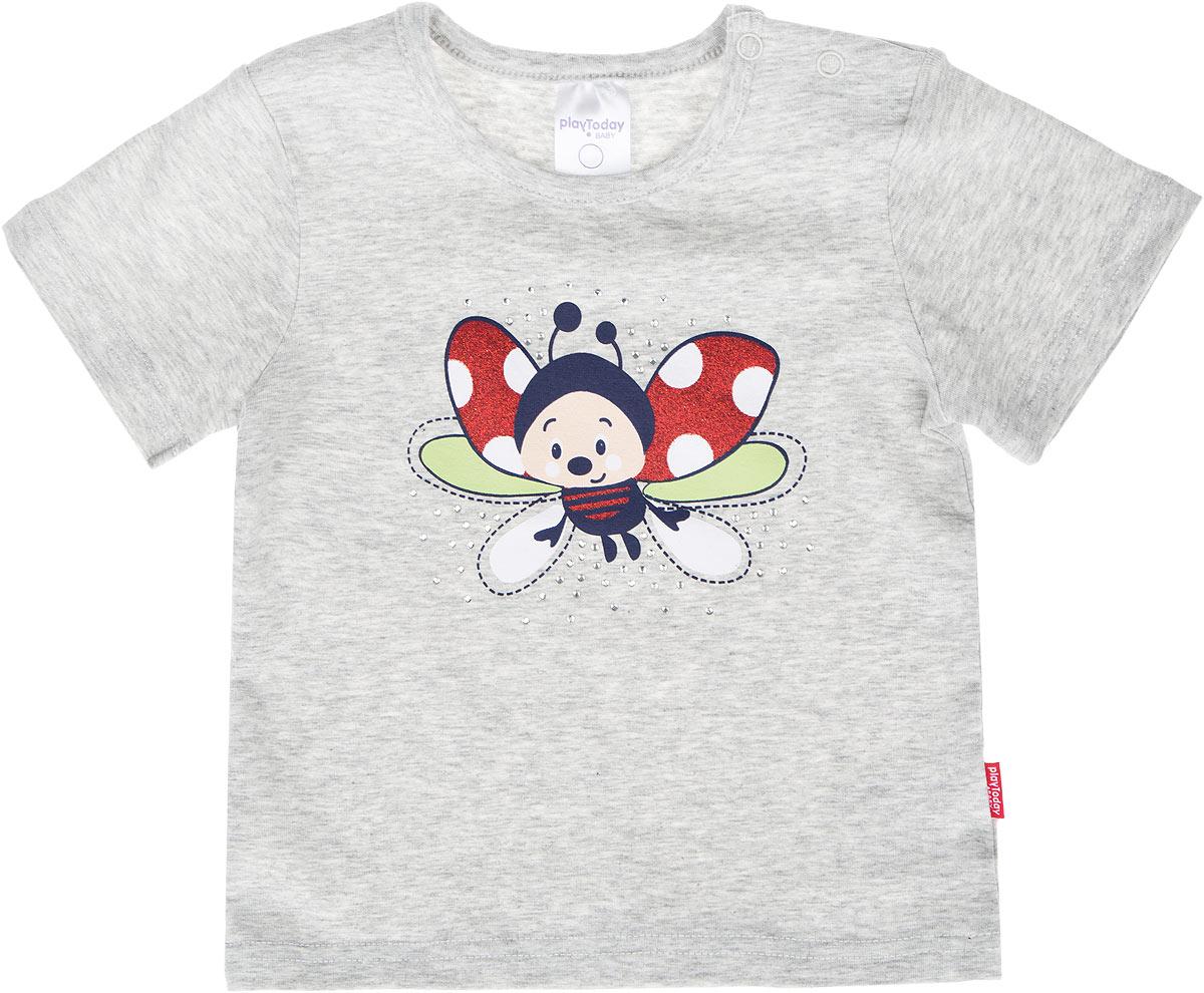 Футболка168020Яркая футболка для девочки PlayToday Baby идеально подойдет вашей малышке и станет прекрасным дополнением детского гардероба. Изготовленная из эластичного хлопка, она мягкая и приятная на ощупь, не сковывает движения и позволяет коже дышать, не раздражает даже самую нежную и чувствительную кожу ребенка, обеспечивая наибольший комфорт. Футболка с короткими рукавами и круглым вырезом горловины имеет застежки-кнопки по плечу, что позволяет легко переодеть кроху. Оформлена модель термоаппликацией с изображением божьей коровки и украшена мелкими стразами. В такой футболке ваша маленькая принцесса будет чувствовать себя уютно и комфортно, и всегда будет в центре внимания!
