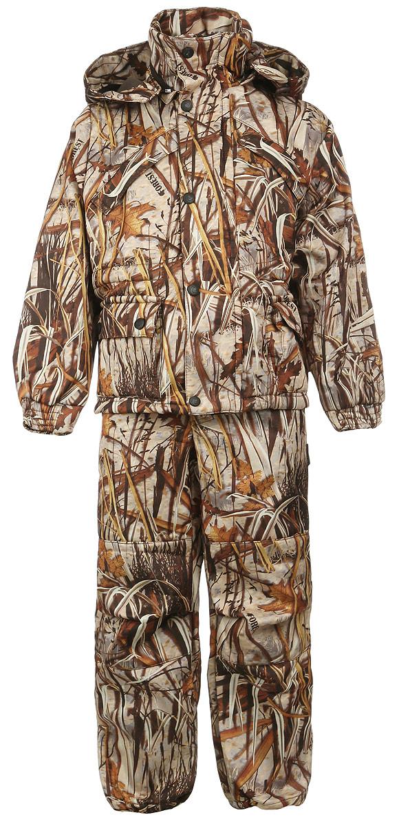 Комплект детский: куртка, брюки. ТайгаТайгаУтепленный детский комплект DчetCam Тайга, состоящий из куртки и брюк, предназначен для активного отдыха и подвижных игр. Комплект изготовлен из водонепроницаемой и ветрозащитной ткани - 100% полиэстера (полофлиса). Подкладка выполнена из таффеты (100% полиэстера). Куртка с капюшоном и воротником-стойкой застегивается на пластиковую застежку-молнию и дополнительно имеет внешнюю ветрозащитную планку на кнопках. Капюшон пристегивается с помощью застежки-молнии и по краю дополнен скрытой резинкой со стопперами. Спереди предусмотрены два прорезных кармана и два накладных кармана с клапанами на кнопках. Рукава дополнены широкими эластичными манжетами. На талии имеется скрытая резинка со стопперами. В области подмышек расположены специальные сетчатые вставки, закрытые пластиковыми молниями. Брюки на талии имеют широкую эластичную резинку на кнопке, также имеется ширинка на застежке-молнии. Спереди предусмотрены два втачных кармана со скошенными краями. Брючины понизу присборены...
