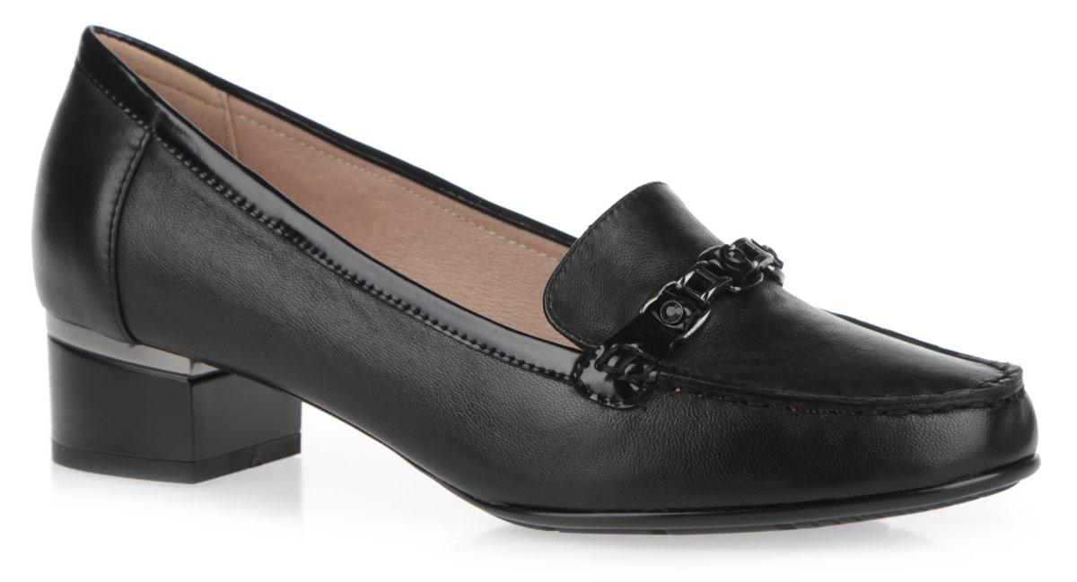 Туфли женские. 97700-0097700-00Женские туфли на каблуке от Provocante прекрасно подчеркнут ваш стиль. Верх модели и внутренняя часть выполнены из натуральной кожи. Стелька из натуральной кожи гарантирует комфорт и удобство при ходьбе. Оформлено изделие кантом из лакированной кожи и металлической декоративной цепочкой со стразами. Устойчивый широкий каблук оформлен декоративной отделкой. Подошва с рифленым протектором обеспечивает идеальное сцепление с любой поверхностью. Такие туфли станут прекрасным дополнением вашего гардероба.
