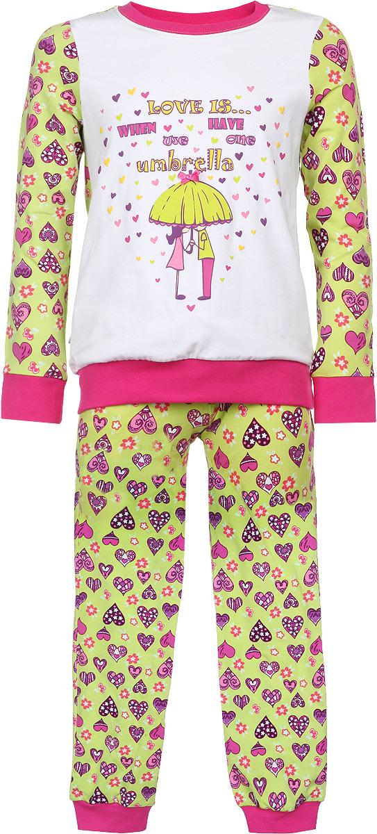 Пижама для девочки. AW15-UAT-GST-148AW15-UAT-GST-148Пижама для девочки KitFox, состоящая из футболки с длинным рукавом и брюк, идеально подойдет вашему ребенку. Пижама выполнена из хлопка c добавлением эластана, она очень мягкая и приятная на ощупь, не сковывает движения и позволяет коже дышать, не раздражает даже самую нежную и чувствительную кожу ребенка, обеспечивая ему наибольший комфорт. Футболка с длинными рукавами и круглым вырезом горловины оформлена оригинальным принтом в виде сердечек. Вырез горловины и манжеты на рукавах дополнены трикотажными эластичными резинками. Брюки на талии имеют эластичную резинку и текстильный шнурок, благодаря чему они не сдавливают животик ребенка и не сползают. Модель оформлена принтом в виде сердечек. Пижама станет отличным дополнением к детскому гардеробу. В ней ваш ребенок будет чувствовать себя комфортно и уютно во время сна.