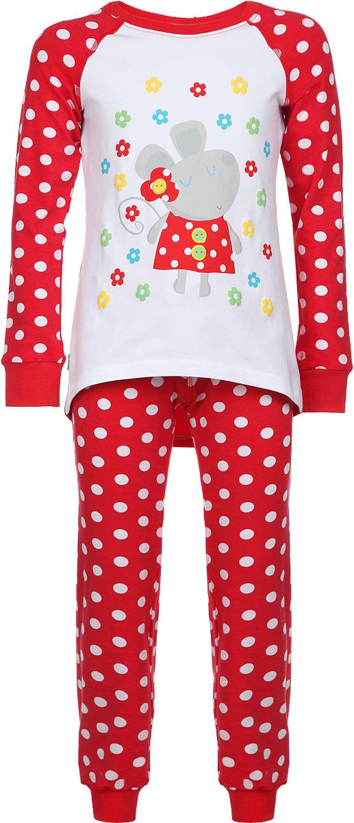 ПижамаAW15-UAT-GST-151Пижама для девочки KitFox, состоящая из футболки с длинным рукавом и брюк, идеально подойдет вашему ребенку. Пижама выполнена из хлопка c добавлением эластана, она очень мягкая и приятная на ощупь, не сковывает движения и позволяет коже дышать, не раздражает даже самую нежную и чувствительную кожу ребенка, обеспечивая ему наибольший комфорт. Футболка с длинными рукавами и круглым вырезом горловины оформлена оригинальным принтом в горох, изображением забавной мышки и цветов. Вырез горловины и манжеты на рукавах дополнены трикотажными эластичными резинками. Брюки на талии имеют эластичную резинку и текстильный шнурок, благодаря чему они не сдавливают животик ребенка и не сползают. Модель оформлена принтом в крупный горох. Пижама станет отличным дополнением к детскому гардеробу. В ней ваш ребенок будет чувствовать себя комфортно и уютно во время сна.