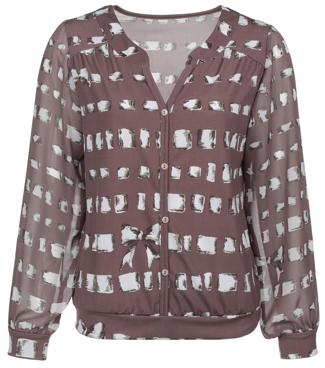 Блузка женская. 1121-6241121-624Замечательная женская блуза Milana Style подчеркнет ваш уникальный стиль и поможет создать оригинальный женственный образ. Модель с V-образным воротником оформлена декоративной планкой с пуговицами. Длинные полупрозрачные рукава блузки дополнены эластичными манжетами. Такая блузка будет дарить вам комфорт в течение всего дня и послужит замечательным дополнением к вашему гардеробу.