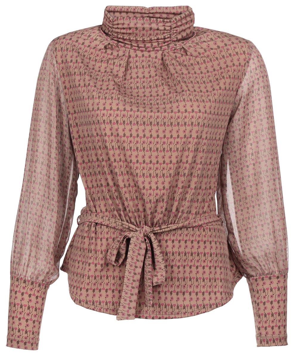 Блузка женская. 1526-6271526-627Отличная женская блузка Milana Style с цветочным принтом. Модель с длинными рукавами и воротником-гольф. Низ изделия оформлен юбочкой. Полупрозрачные рукава дополнены эластичными манжетами. Модная блузка займет достойное место в вашем гардеробе. К изделию прилагается пояс.