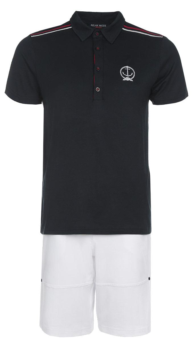 Комплект мужской Holiday: футболка-поло, шорты. 3543035430Мужской комплект Relax Mode, состоящий из футболки-поло и шорт, подарит вам неповторимую индивидуальность. Комплект, выполненный из высококачественных материалов, оформлен в контрастном цвете. Поло с короткими рукавами и отложным воротником на груди застегивается на четыре пуговицы. Модель украшена небольшой вышивкой, плечевая зона - вставкой из трикотажной резинки. Классический покрой, лаконичный дизайн. Легкие мужские шорты прямого кроя и стандартной посадки с ширинкой на застежке-молнии, на талии застегиваются на кнопки, имеются шлевки для ремня. Сзади пояс оформлен эластичной резинкой. Спереди модель дополнена двумя втачными карманами с косыми срезами, сзади - двумя накладными карманами. Такой комплект создан для тех, кто предпочитает комфорт, практичность и современный дизайн.
