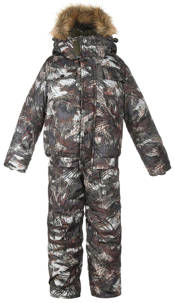 Комплект детский: куртка, полукомбинезон. ПингвинПингвинЗимний детский комплект DetCam Пингвин, состоящий из куртки и полукомбинезона, предназначен для активного отдыха и подвижных игр. Комплект изготовлен из водонепроницаемой и ветрозащитной ткани - 100% полиэстера (микрофибры). Утеплитель куртки - 400 г/м2. Утеплитель полукомбинезона - 200 г/м2. Подкладка выполнена из таффеты (100% полиэстера). Водонепроницаемость - 1000 мм. Паропроницаемость - 1000 г/м2/24 ч. Куртка с капюшоном и воротником-стойкой застегивается на пластиковую застежку-молнию и дополнительно имеет внешнюю ветрозащитную планку на липучках. Капюшон пристегивается с помощью застежки-молнии и дополнительно застегивается клапаном под подбородком на липучки. Дополнен капюшон съемной опушкой из натурального меха, пристегивающейся с помощью кнопок, а по краю проходит скрытая кулиска на стопперах. Спереди предусмотрены два прорезных кармана на липучках и два накладных кармана с клапанами на липучках. На левом рукаве расположен накладной карман с клапаном на липучке. С...