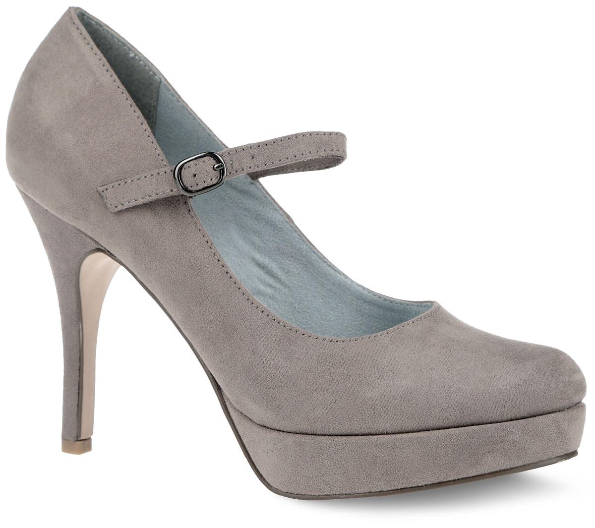 Туфли женские. 1-1-24409-26-3431-1-24409-26-343Восхитительные туфли от Tamaris не оставят вас равнодушной. Модель выполнена из приятного на ощупь текстиля. Ремешок с закругленной металлической пряжкой отвечает за надежную фиксацию модели на ноге. Подкладка, изготовленная из текстиля, и стелька из искусственной кожи обеспечивают максимальный комфорт при движении. Ультравысокий каблук-шпилька компенсирован платформой. Закругленный носок добавит женственности в ваш образ. Подошва оснащена рифлением для лучшей сцепки с поверхностью. Изысканные туфли добавят шика в модный образ и подчеркнут ваш безупречный вкус.