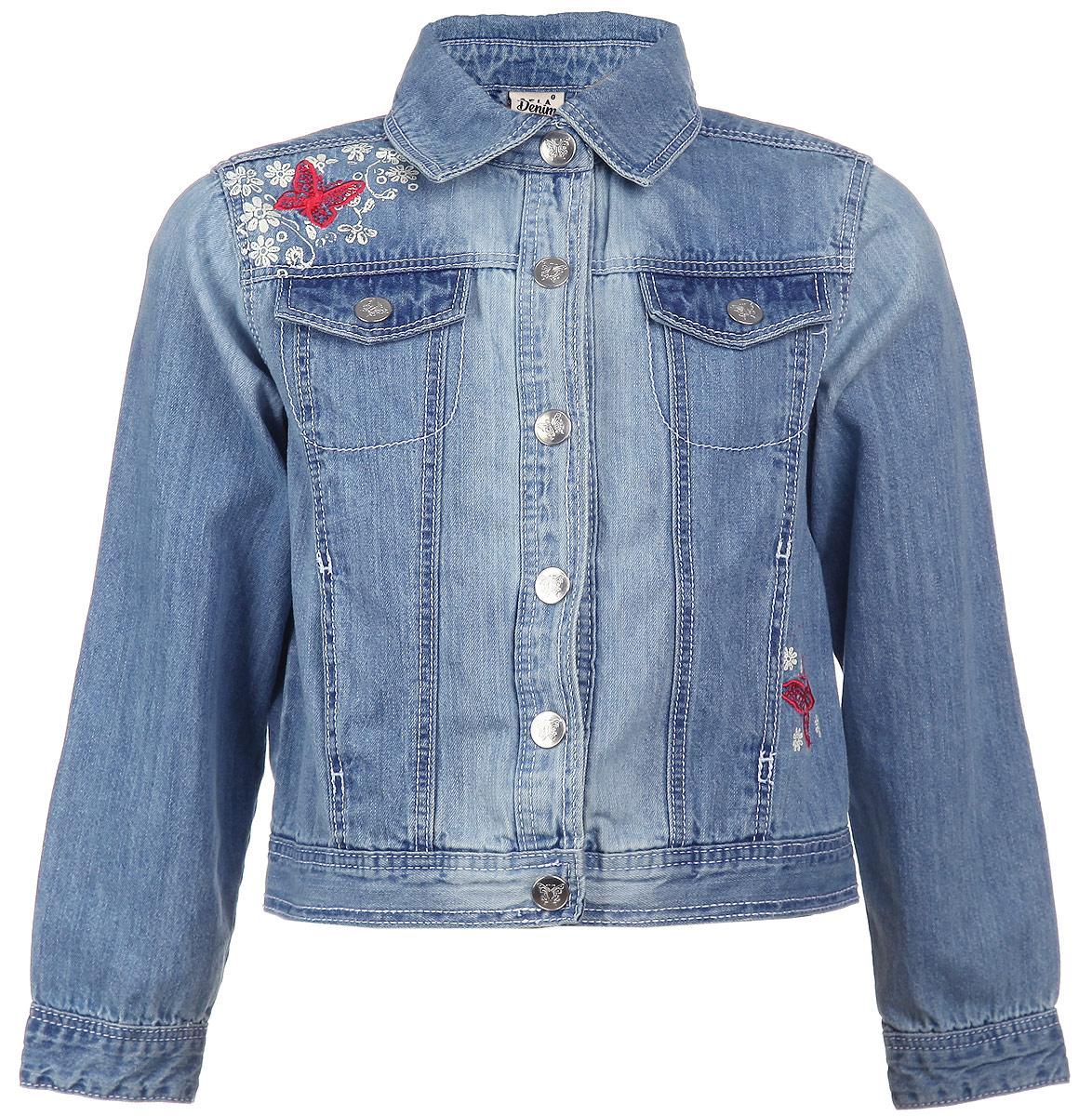 Куртка для девочки. JTj-536/002-6152JTj-536/002-6152Джинсовая куртка для девочки Sela идеально подойдет вашей маленькой принцессе. Изготовленная из высококачественного материала, она мягкая, очень приятная на ощупь, не сковывает движения и позволяет коже дышать, обеспечивая наибольший комфорт. Модель с длинными рукавами и отложным воротничком застегивается на металлические кнопки. На груди изделие оформлено имитацией кармашков с клапанами на кнопках. Манжеты на рукавах также застегиваются на кнопки. Спереди расположены два втачных кармана. Изделие декорировано вышитыми бабочками и принтовыми цветами. Современный дизайн делает эту куртку стильным предметом детского гардероба. В ней юная модница всегда будет в центре внимания!