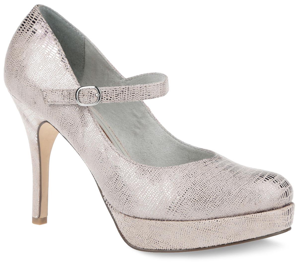 Туфли женские. 1-1-24409-26-5791-1-24409-26-579Восхитительные туфли от Tamaris не оставят вас равнодушной. Модель выполнена из текстиля, оформленного лазерной обработкой. Ремешок с закругленной металлической пряжкой отвечает за надежную фиксацию модели на ноге. Подкладка, изготовленная из текстиля, и стелька из искусственной кожи обеспечивают максимальный комфорт при движении. Ультравысокий каблук-шпилька компенсирован платформой. Закругленный носок добавит женственности в ваш образ. Подошва оснащена рифлением для лучшей сцепки с поверхностью. Изысканные туфли добавят шика в модный образ и подчеркнут ваш безупречный вкус.