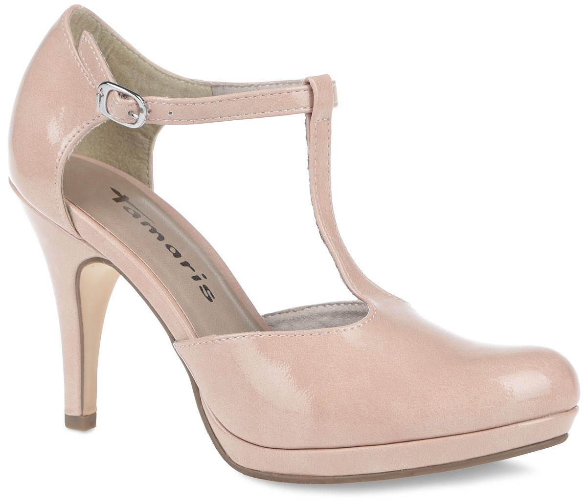 Туфли женские. 1-1-24428-26-5401-1-24428-26-540Оригинальные туфли от Tamaris покорят вас с первого взгляда. Модель выполнена из искусственной лакированной кожи. Внутренняя поверхность из текстиля и стелька из искусственной кожи обеспечат комфорт при движении. Застегивается модель на ремешок с металлической пряжкой. Высокий каблук компенсирован платформой. Подошва с рельефным протектором обеспечивает идеальное сцепление с любой поверхностью. Такие туфли помогут создать женственный и привлекательный образ своей владелицы.