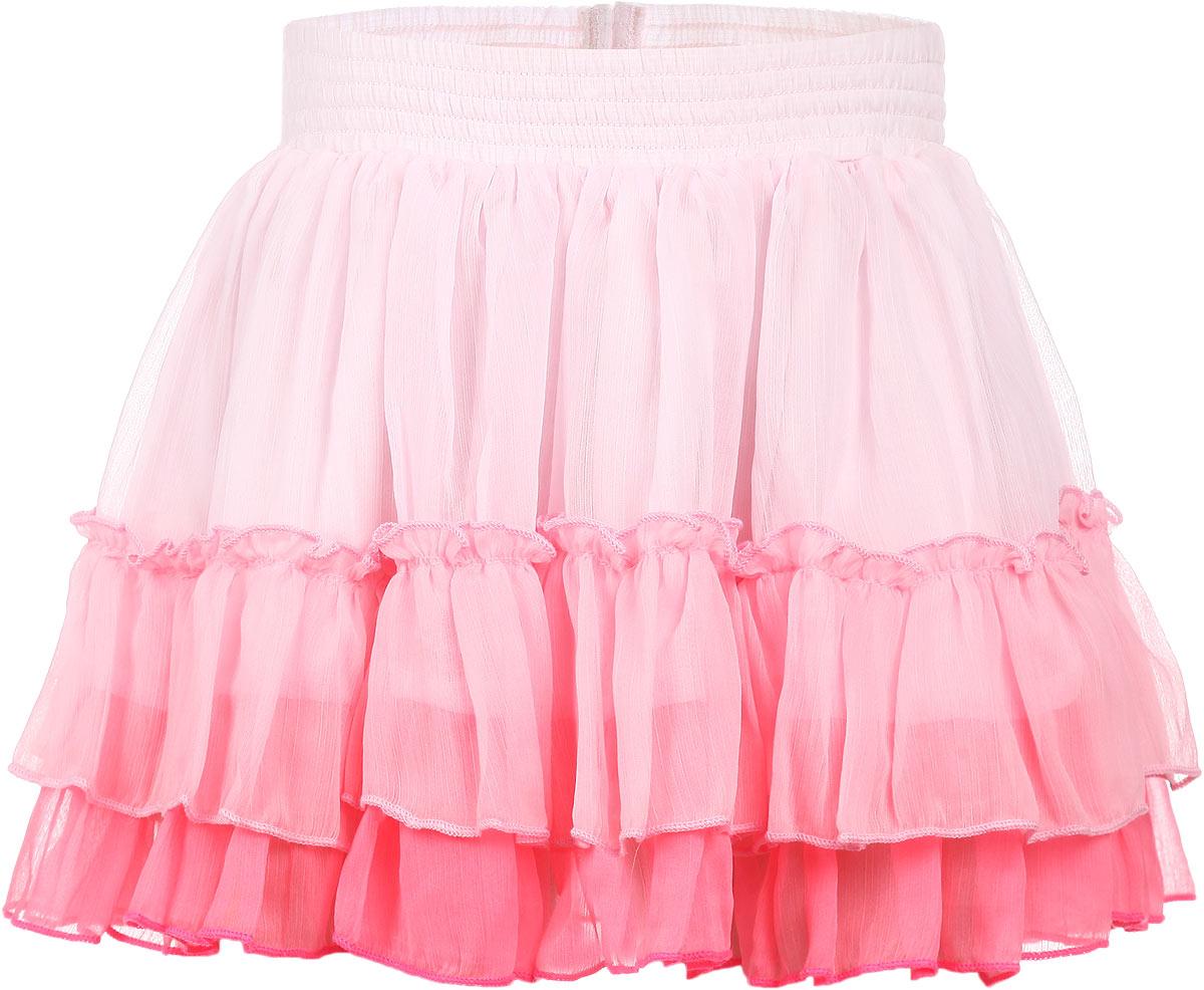 Юбка для девочки. SK-518/036-6131SK-518/036-6131Эффектная юбка для девочки Sela идеально подойдет вашей моднице. Изготовленная из полиэстера с подкладкой из эластичного хлопка, она мягкая и приятная на ощупь, не сковывает движения и позволяет коже дышать, не раздражает нежную кожу ребенка, обеспечивая наибольший комфорт. Юбка на талии имеет широкую эластичную резинку, не сдавливающую животик ребенка. Модель дополнена тройной оборкой из мягкой микросетки, что придает изделию пышность. Прекрасный дизайн сделает эту юбочку модным и стильным предметом детского гардероба. В ней ваша маленькая леди всегда будет в центре внимания.
