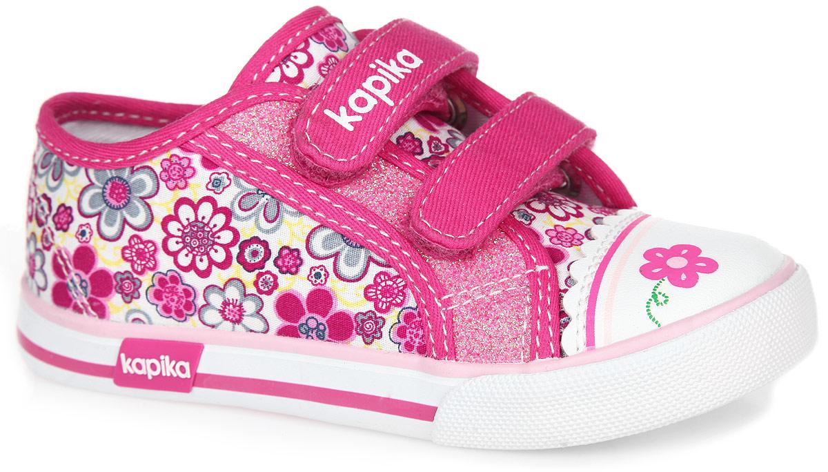 Кеды для девочки. 72135-272135-2Модные кеды от Kapika очаруют вашу девочку с первого взгляда! Модель изготовлена из текстиля, оформленного яркими изображениями цветов, и дополнена вставкой на мыске из искусственной кожи. Ремешки на застежке- липучке, один из которых декорирован символикой бренда, помогают оптимально подогнать полноту обуви по ноге, и гарантируют надежную фиксацию. Благодаря такой застежке ребенок может самостоятельно надевать обувь. Кеды дополнены блестящим напылением. Подкладка, изготовленная из текстиля, обеспечивает дополнительный комфорт и предотвращает натирание. Антибактериальная, влагопоглощающая, амортизирующая, анатомическая стелька из ЭВА материала с верхним покрытием из натуральной кожи, дополненная легкой перфорацией, обеспечивает максимальную устойчивость ноги при ходьбе, правильное формирование стопы и снижение общей утомляемости ног. Мыс обуви декорирован оригинальным принтом в виде цветка. Подошва, дополненная сбоку символикой бренда, оснащена рифлением для лучшей...