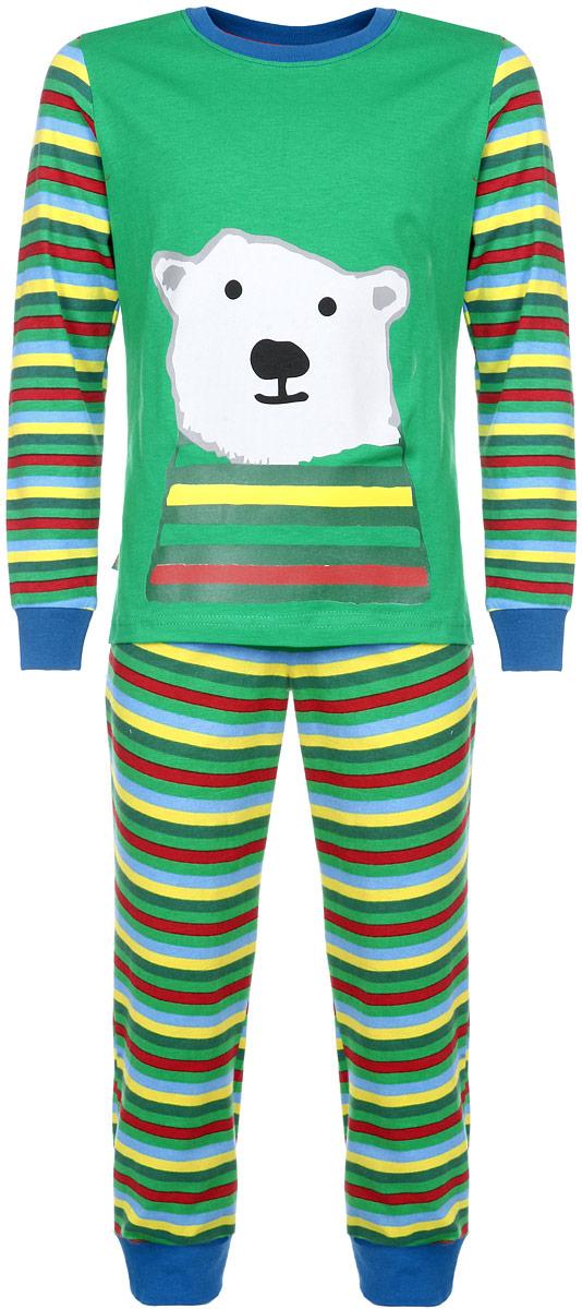 Пижама для мальчика. AW15-UAT-BST-054AW15-UAT-BST-054Пижама для мальчика KitFox, состоящая из футболки с длинным рукавом и брюк, идеально подойдет вашему ребенку. Пижама выполнена из хлопка c добавлением эластана, она очень мягкая и приятная на ощупь, не сковывает движения и позволяет коже дышать, не раздражает даже самую нежную и чувствительную кожу ребенка, обеспечивая ему наибольший комфорт. Футболка с длинными рукавами и круглым вырезом горловины оформлена термоаппликацией с изображением белого медведя. Вырез горловины и рукава дополнены трикотажными резинками. Брюки прямого кроя на талии имеют широкую эластичную резинку, которая не позволяет брюкам сползать, не сдавливая животик ребенка. Низ брючин дополнен широкими эластичными манжетами. Модель оформлена принтом в полоску. В такой пижаме ваш ребенок будет чувствовать себя комфортно и уютно во время сна.