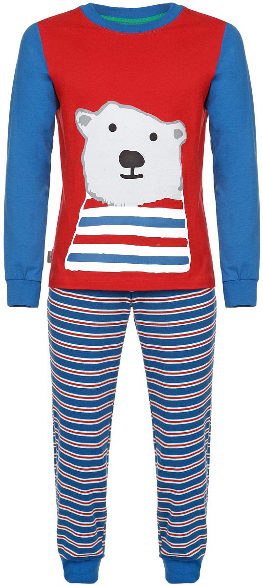 ПижамаAW15-UAT-BST-054Пижама для мальчика KitFox, состоящая из футболки с длинным рукавом и брюк, идеально подойдет вашему ребенку. Пижама выполнена из хлопка c добавлением эластана, она очень мягкая и приятная на ощупь, не сковывает движения и позволяет коже дышать, не раздражает даже самую нежную и чувствительную кожу ребенка, обеспечивая ему наибольший комфорт. Футболка с длинными рукавами и круглым вырезом горловины оформлена термоаппликацией с изображением белого медведя. Вырез горловины и рукава дополнены трикотажными резинками. Брюки прямого кроя на талии имеют широкую эластичную резинку, которая не позволяет брюкам сползать, не сдавливая животик ребенка. Низ брючин дополнен широкими эластичными манжетами. Модель оформлена принтом в полоску. В такой пижаме ваш ребенок будет чувствовать себя комфортно и уютно во время сна.