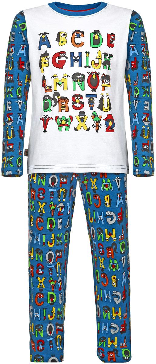 Пижама для мальчика. AW15-UAT-BST-053AW15-UAT-BST-053Пижама для мальчика KitFox, состоящая из футболки с длинным рукавом и брюк, идеально подойдет вашему ребенку. Пижама выполнена из хлопка c добавлением эластана, она очень мягкая и приятная на ощупь, не сковывает движения и позволяет коже дышать, не раздражает даже самую нежную и чувствительную кожу ребенка, обеспечивая ему наибольший комфорт. Футболка с длинными рукавами и круглым вырезом горловины оформлена ярким принтом в виде букв английского алфавита. Вырез горловины дополнен трикотажной резинкой. Брюки прямого кроя на талии имеют широкую эластичную резинку, которая не позволяет брюкам сползать, не сдавливая животик ребенка. В такой пижаме ваш ребенок будет чувствовать себя комфортно и уютно во время сна.