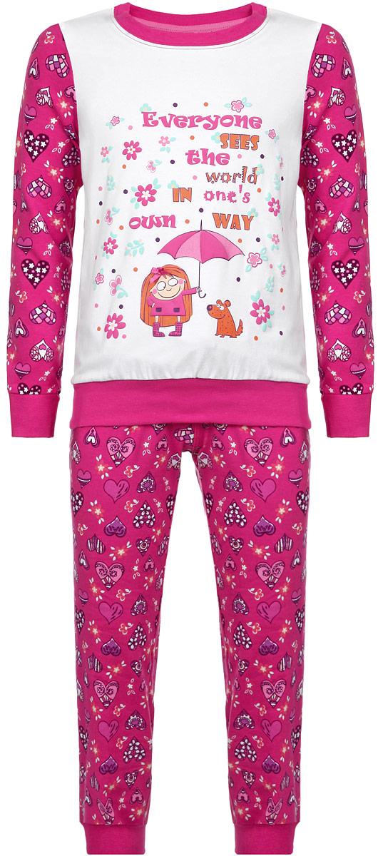 AW15-UAT-GST-148Пижама для девочки KitFox, состоящая из футболки с длинным рукавом и брюк, идеально подойдет вашему ребенку. Пижама выполнена из хлопка c добавлением эластана, она очень мягкая и приятная на ощупь, не сковывает движения и позволяет коже дышать, не раздражает даже самую нежную и чувствительную кожу ребенка, обеспечивая ему наибольший комфорт. Футболка с длинными рукавами и круглым вырезом горловины оформлена оригинальным принтом в виде сердечек. Вырез горловины и манжеты на рукавах дополнены трикотажными эластичными резинками. Брюки на талии имеют эластичную резинку и текстильный шнурок, благодаря чему они не сдавливают животик ребенка и не сползают. Модель оформлена принтом в виде сердечек. Пижама станет отличным дополнением к детскому гардеробу. В ней ваш ребенок будет чувствовать себя комфортно и уютно во время сна.