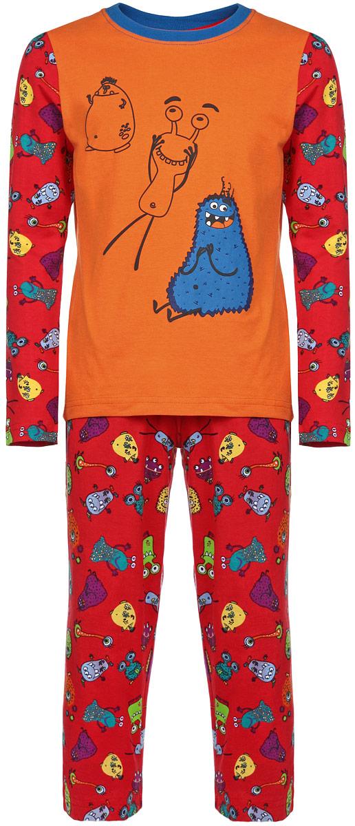 AW15-UAT-BST-055Пижама для мальчика KitFox, состоящая из футболки с длинным рукавом и брюк, идеально подойдет вашему ребенку. Пижама выполнена из хлопка c добавлением эластана, она очень мягкая и приятная на ощупь, не сковывает движения и позволяет коже дышать, не раздражает даже самую нежную и чувствительную кожу ребенка, обеспечивая ему наибольший комфорт. Футболка с длинными рукавами и круглым вырезом горловины оформлена термоаппликацией с изображением забавного монстра. Брюки прямого кроя на талии имеют широкую эластичную резинку, которая не позволяет брюкам сползать, не сдавливая животик ребенка. Модель оформлена ярким принтом с изображением веселых монстров. В такой пижаме ваш ребенок будет чувствовать себя комфортно и уютно во время сна.